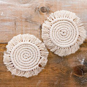 Handmade Natural Macrame Coasters Set of 2